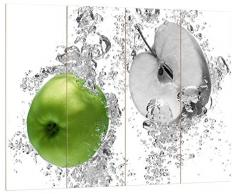 Pixxprint saftig grüne Äpfel im Wasser schwarz/weiß, MDF Bretterlook Format: 80x60cm, Wanddekoration Holzbild, Holz, bunt, 80 x 60 x 2 cm