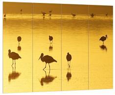 Pixxprint HBVs_1229_80x60 Pelikanschwarm in Wasser bei Sonnenuntergang MDF-Holzbild im Bretterlook Wanddekoration, bunt, 80 x 60 x 2 cm