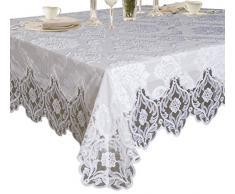 Elegantes Samt Spitze Sheer Floral Deluxe Design Tischdecken, Polyester Textil Spitze, weiß, 54 Inches x 72 Inches