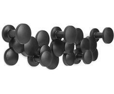 Umbra Bubble Garderobenhaken – Dekorative und Platzsparende Garderobenleiste mit 5 Haken für Jacken, Schals, Taschen, Rucksäcke, Handtücher und Mehr, Schwarz