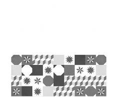 Laroom 14174-Teppich Bollato Küche Fliesen Loft BK-150cm, Schwarz und Grau