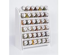 Gald Gewürzregal, Küchenregal für Gewürze und Kräuter, 36 Gläser, Holz, Weiß/matt, 31.5 x 41 x 16 cm