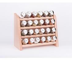 Gald Gewürzregal, Küchenregal für Gewürze und Kräuter, 24 Gläser, Holz, Naturell/glänzend, 31 x 27 x 15.5 cm