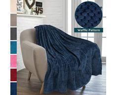 PAVILIA Premium Flanell Fleece Waffel Überwurf Decke, Fleece/Polyester, Navy, 50 x 60 inches