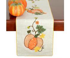 GRELUCGO Elegante Thanksgiving Urlaub Tisch Läufer, Fall Harvest Dekorationen, Bestickt Kürbisse, eckig, 14 × 182,9 cm, Orange, 14 x 90 inch