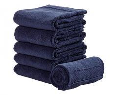 iDesign 6er-Set Handtücher, kleines Handtuch mit gewebter Verzierung aus Baumwolle, weiches und saugfähiges Handtuch Set mit Aufhänger für Waschbecken und Gäste-WC, dunkelblau