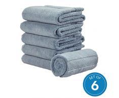 iDesign 6er-Set Handtücher, kleines Handtuch mit gewebter Verzierung aus Baumwolle, weiches und saugfähiges Handtuch Set mit Aufhänger für Waschbecken und Gäste-WC, rauchblau