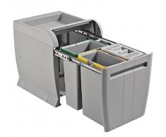 ELLETIPI City PTA 4040B Mülleimer Mülltrennung, ausziehbar für Base, grau, 35 x 42 x 44 cm