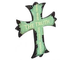 Spirit & Truth Wandtafel mit Kreuz-Motiv Die Wahrheit, die Sie freigibt, John 8:32, tiefes Waschbecken, Kratzfest mit glänzender Oberfläche, 14,75 x 17,75 x 0,75 cm