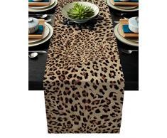 Tischläufer aus Leinen, für Kommode / Schals, Weihnachtsmann / Ziegenkatze, Weihnachten, Tischläufer, Leinen, extra lang, für Kaffee, Küche, Erntedankfest Modern 13 x 90 Inches Leopardenmuster 130thh1036