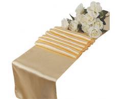 VDS Tischläufer, Satin, 30,5 x 274,3 cm, für Hochzeit, Bankett, Dekoration, Läufer, Charmeuse Seide, 1 Stück 10 beige