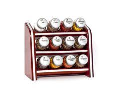 Gald Gewürzregal, Küchenregal für Gewürze und Kräuter, 12 Gläser, Holz, Braun/matt, 22 x 21 x 10 cm