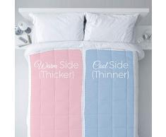 Twovet Doppelzonen warm/kühl Bettdecke für Paare, Hypoallergen mit Ecklaschen, Weiß King weiß