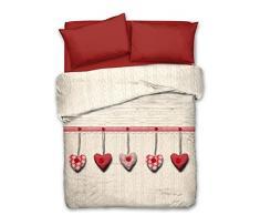 Tagesdecke piquel aus 100% Baumwolle, Größe: Einzelbett, Position Herz Farbe rot