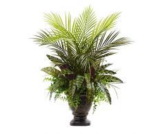 Nearly Natural Fast Natur gemischt Areca Palm, Farn & Pfau mit Übertopf, 68,6 cm
