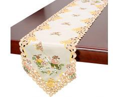Beige Ostern Bunny Tisch Leinen, Läufer 38,1 x 91,4 cm, beige, 15x108 inch