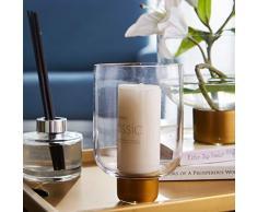 cyl Home Vasen aus transparentem Glas, Blumenarrangement, Vase mit Messing-Ständer, Dekoschale, Kerzenhalter, Tischdekoration für Esszimmer, Wohnzimmer, Hochzeitsgeschenk Modern 6.2 H x 2 D