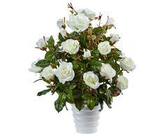 Fast Natural Rose Bush Seide Arrangement in Swirl Übertopf, weiß