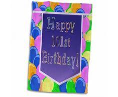 3dRose 3D Luftballons mit lila Banner Happy 101st Birthday TWL_174134_1 Handtuch, 38,1 x 55,9 cm