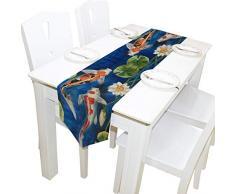 OPRINT Bunte Koifische im Teich Tischläufer Home Deko Couchtisch 33 x 178 cm Polyester Tischdecken für Moderne stilvolle Hochzeit Party 13 x 90 inch Mehrfarbig