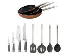 San Ignacio PK820 3 Pfannen 20/24/28 + Set 4 Messer Set 4 Küchenutensilien, Kupfer