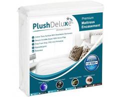 PlushDeluxe Premium 100% wasserdicht Matratze umgreifung Hypoallergen Vinyl Frei, atmungsaktive Weiche Baumwolle Frottee Oberfläche. 10 Jahr Garantie, Baumwolle, 12-15 Deep, Volle Größe