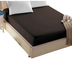 4U LIFE Bettwäsche Spannbettlaken Sheet-Prime 1800 Serie, doppelt gebürstet Mikrofaser, weichen Haptik und Falten, verblassen gratis, für übergroße Matratze, Mikrofaser, Dunkelbraun, Volle Größe