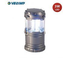Velamp PUSHUP LED Camping Laterne 200 Lumen Abnehmbare, kompakte, hängbare, superhelle Campinglampe für Notfall, Wandern Angeln Trekking, Kunststoff, Grau
