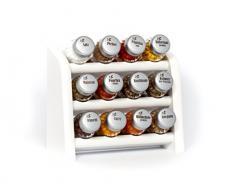Gald Gewürzregal, Küchenregal für Gewürze und Kräuter, 12 Gläser, Holz, Weiß/matt, 22 x 21 x 10 cm