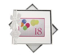 White Cotton Cards 18. Geburtstag, Gästebuch, Neon Glitter Luftballons