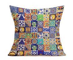 ShareJ Kissenbezug, mexikanische Fliesen, Blumen-Design, mexikanische Fliesen, Blumen-Design, marokkanisches Design, Baumwolle, Leinen, quadratisch, 45,7 x 45,7 cm 18 x 18 Mexican Tiles04