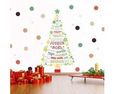 Wallflexi Wandsticker Retro Magic Christmas Tree with French Spotes Wandsticker, für Kinderzimmer, Schule, Restaurant, Café, Hotel, Zuhause, Büro, Dekoration, Mehrfarbig