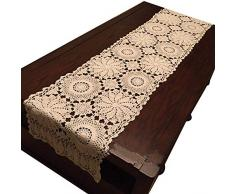 USTIDE Floral Tischsets Hand Crochet Tisch Spitzendeckchen beige Baumwolle Tisch Deckchen Spitze Tischläufer für Couchtisch, baumwolle, beige, 15inchesX78.7inches