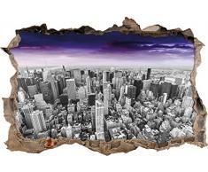 Pixxprint 3D_WD_5271_92x62 riesige Skyline von New York am späten Abend Wanddurchbruch 3D Wandtattoo, Vinyl, schwarz/weiß, 92 x 62 x 0,02 cm