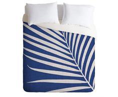 Society6 Modern Tropical Vintage Indigo Palm King Bettdecke Twin blau