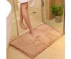 vctops Chenille Badteppich aus Plüsch Extra weich und saugfähig Mikrofaser, Rutschfester Läufer für Badewanne Badezimmer Dusche 16 x 24/40 x 60cm Camel