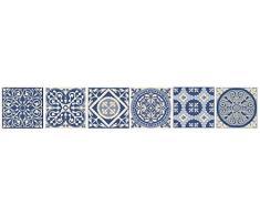 Plage Smooth - Tiles Fliesen Sticker Zementfliesen Blauer Himmel-AZULEJOS[6 Bogen 15 x 15 cm], Vinyl, Blue, 15 x 0,1 x 15 cm