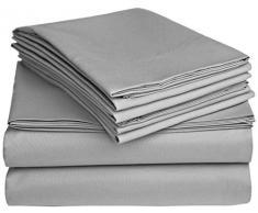Flow s Leinen alle Größe Blatt Original 1200-thread Zählen Luxus Weich 100% Heavy Ägyptische Baumwolle – Tabelle Set für alle Größe passend für Matratze bis 35,6–40,6 cm Taschen Tiefe (Solid, Farbe) Traditionell Full XL silbergrau