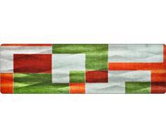 DECO-MAT Rutschfester Teppich-Läufer 80 x 250 cm ohne Rand für den Innenbereich oder Eingangsbereich, 80 x 120 cm, Moderne / Grün-Grau-Orange