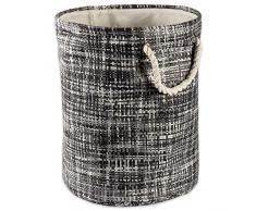 DII geflochtener Papierkorb oder -Korb, zusammenklappbar und praktisch für Zuhause, für Schlafzimmer, Badezimmer Rund Medium Round schwarz