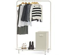 Simple Houseware Kleiderständer für Industrie-Rohre, mit Bodenregalen weiß