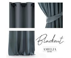 AmeliaHome Blackout Vorhang 1 St. Blickdicht, Polyester, Graphit, 140x245