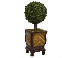 Nearly Natural Fast Natur, Buchsbaum Ball Formschnittgärtnerei-Künstlicher Weihnachtsbaum in Übertopf, 68,6 cm