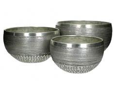 Blumentopf 3er Set Metall - silber