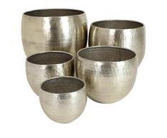Blumentopf 5er Set Metall - silber