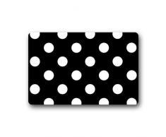 Cloud Dream Polka Dot Schwarz Weiß Fußmatten Küche Boden Bad Diele Teppich Matte saugfähig Innen Badezimmer Decor Fußmatten Gummi Rutschfeste 59,9 x 39,9 cm 18x30in Mehrfarbig