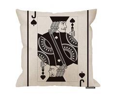 HGOD DESIGNS Poker-Kissenbezug, Motiv Jack of Pikes, Baumwolle, Leinen, Polyester, Dekoration, Sofa, Schreibtisch, Stuhl, Schlafzimmer, 40,6 x 40,6 cm 18x18 Inch A1-0186