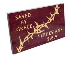 Spirit & Truth Wandbild Saved by Grace Ephesians, 2:22,9 cm Schild, tiefes Waschbecken, 22,5 x 13,5 x 1,25 cm