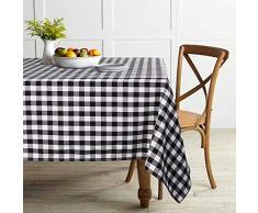 ColorBird Buffalo Plaid Tischdecke Polyester Baumwolle Kariert Tischdecke für Zuhause Küche Esszimmer Party Picknick Indoor Outdoor Rectangle/Oblong, 55 x 70 Inch schwarz