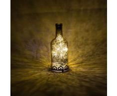 Home&Decorations H&D Original-Glas Laterne Flaschenlicht LED antik Gold Ø8 cm × H29cm